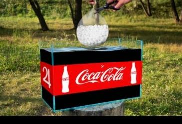 Akvárium s Coca Colou vs balón plný Mentos