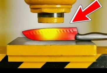 Žeravý nôž vs 100 tonový hydraulický lis