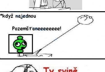 Vyskakujúci zelený mimozemšťan