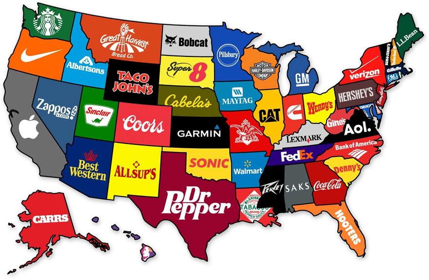 Najznámejšie značky jednotlivých štátov z USA