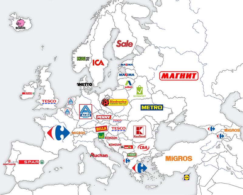 Popularita super- a hyper- marketov v Európe