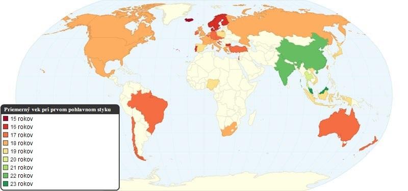 Priemerný vek pri prvom pohl. styku v rôznych krajinách