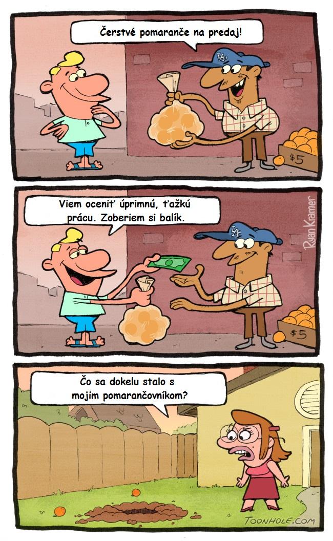 Úprimný predajca pomarančov