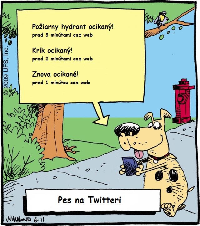 Príspevky psa na Twitteri