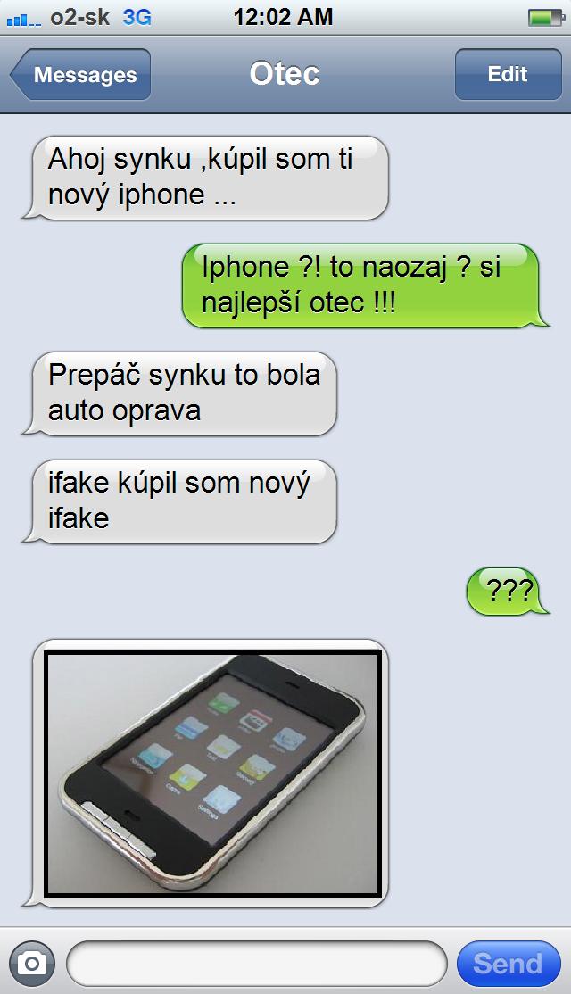 SMS - iPhone, resp. iFake od otca